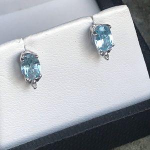 Sterling Silver Blue Topaz Diamond Earring Studs